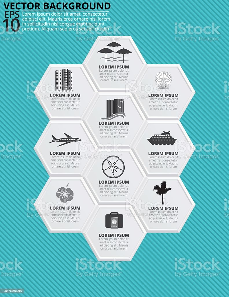 Set of Hexagon Shapes With Travel Vacation Icons vector art illustration