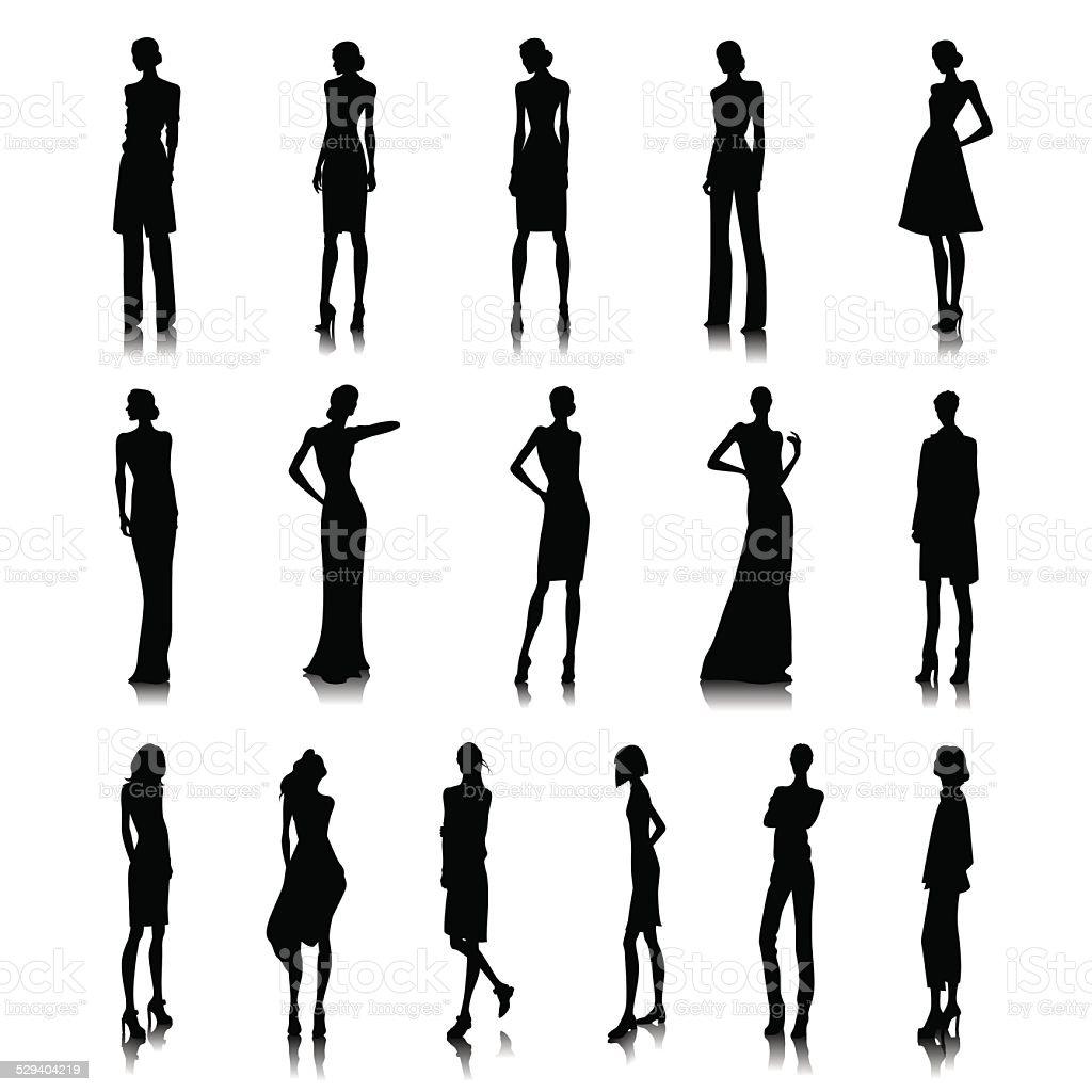 Set of high fashion women vector art illustration