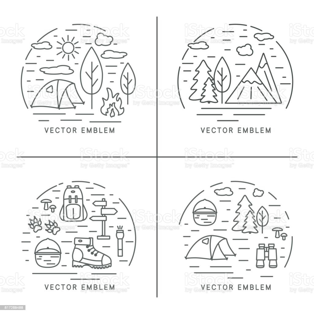 Set of hiking linear concept. Circle compositions for trekking, tourism and travels design. vector art illustration