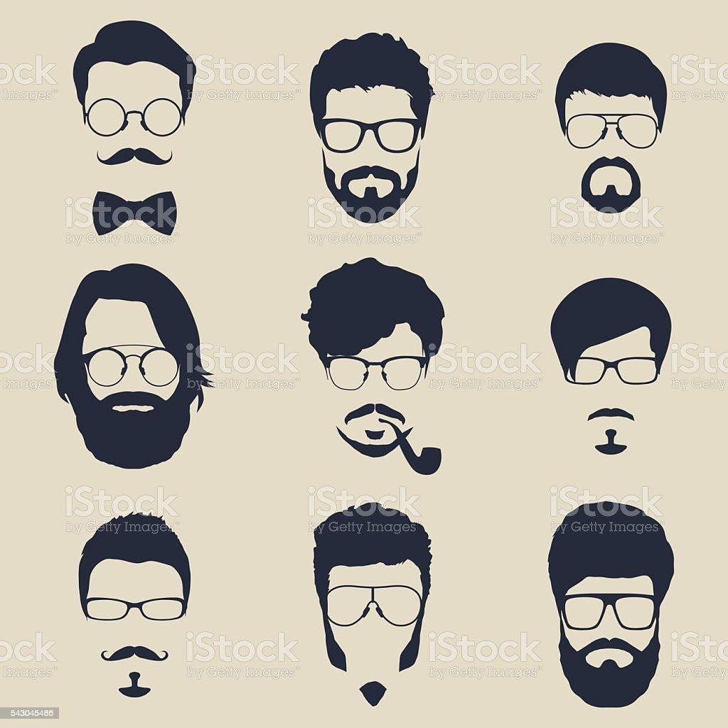 set of hipster avatars for social media or web site vector art illustration