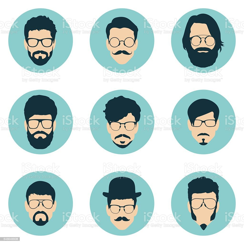 set of hipster avatars for social media or web site vector art illustration
