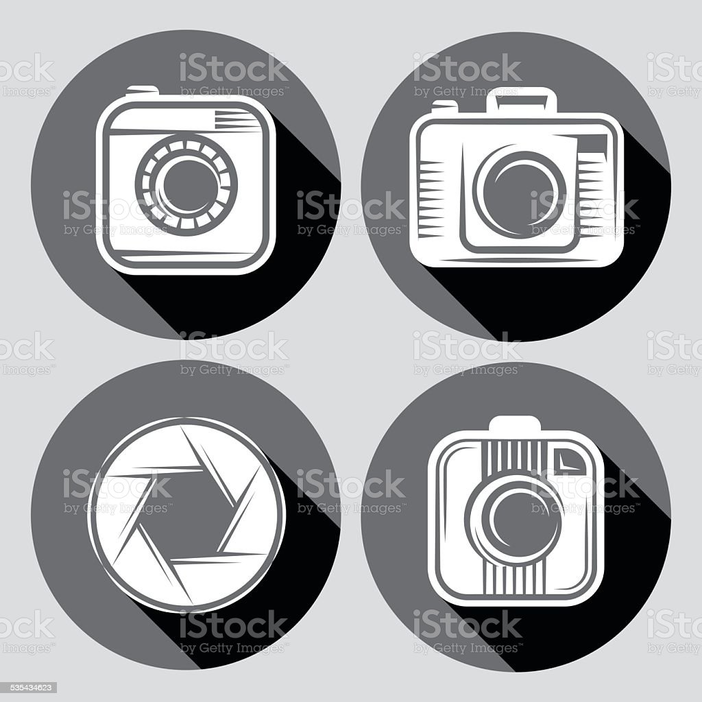 set of  hipster cameras or web icons with long shadow vector art illustration