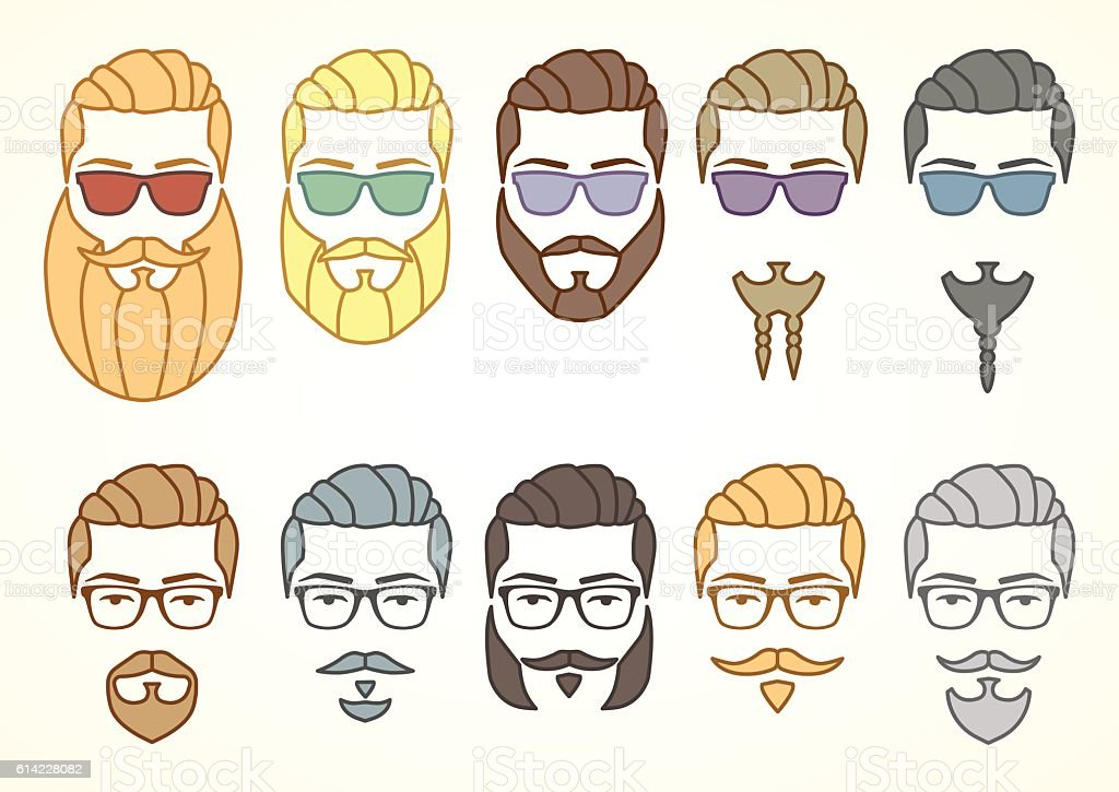 Set of hipster face with mustaches and beards vector art illustration