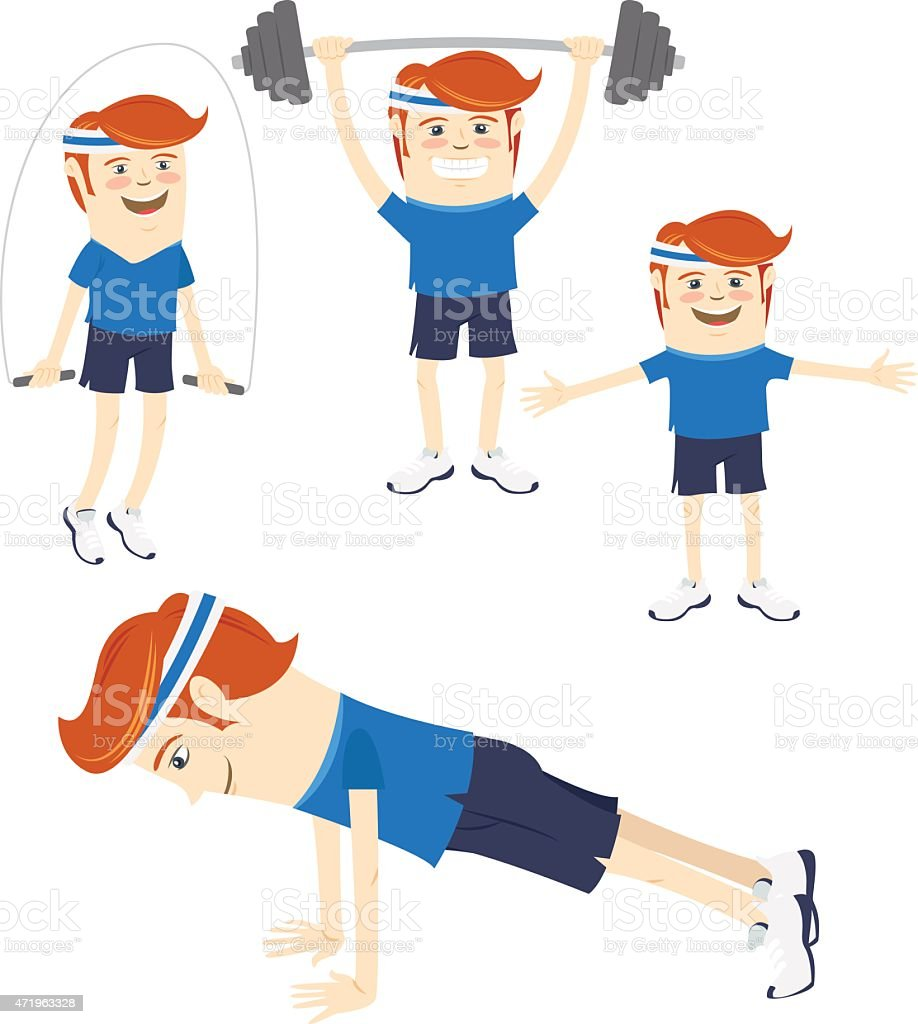 Set of Hipster funny sportsmen doing exercises. Flat style vector art illustration