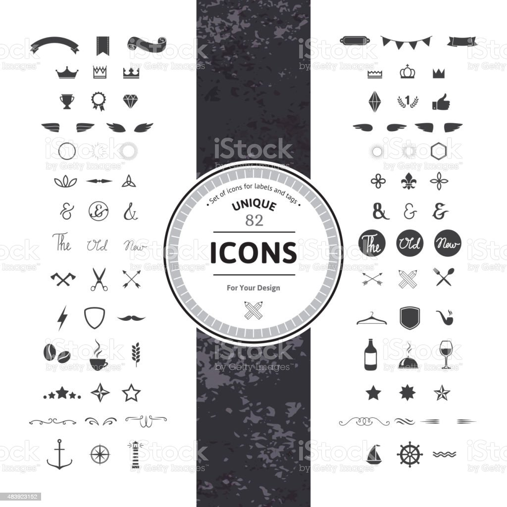 Set of Hipster Icons and Symbols vector art illustration
