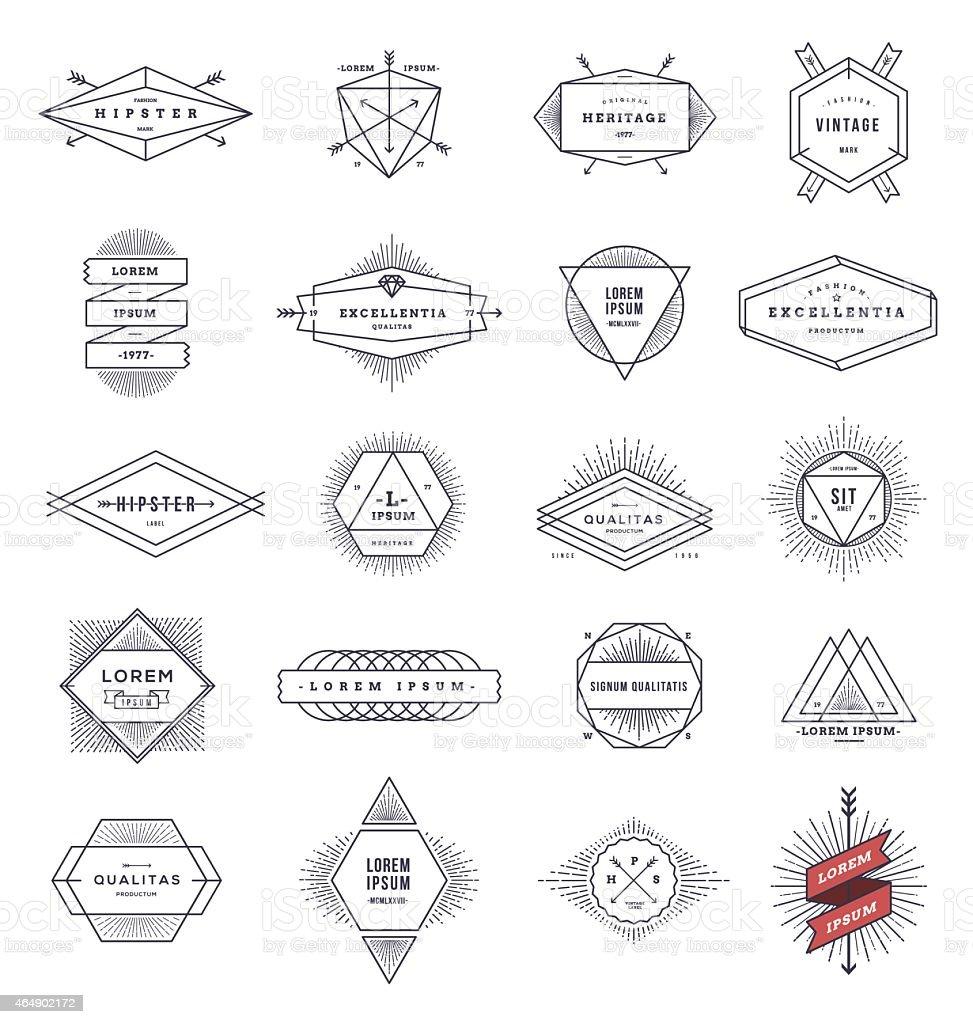 Set of hipster line emblems and signs with sunburst vector art illustration