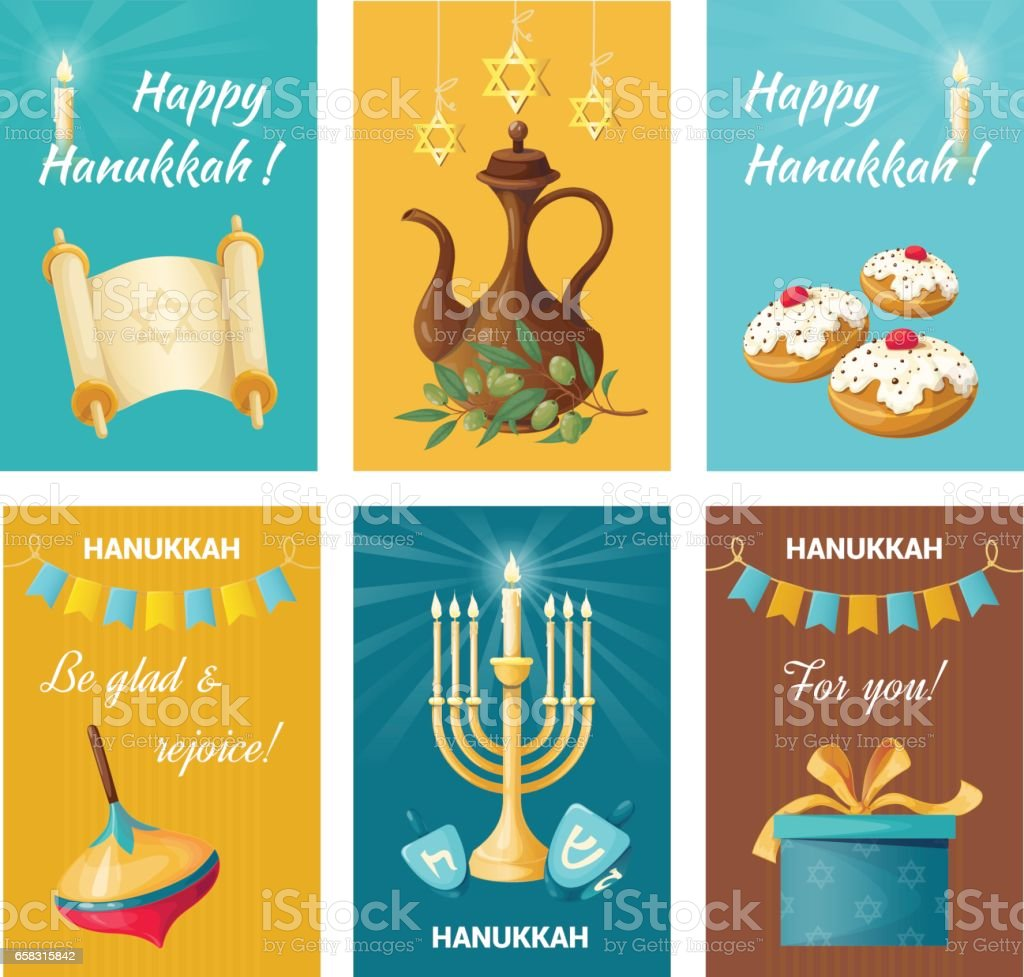 Set of holiday banners on Hanukkah. Sweets and gifts. vector art illustration