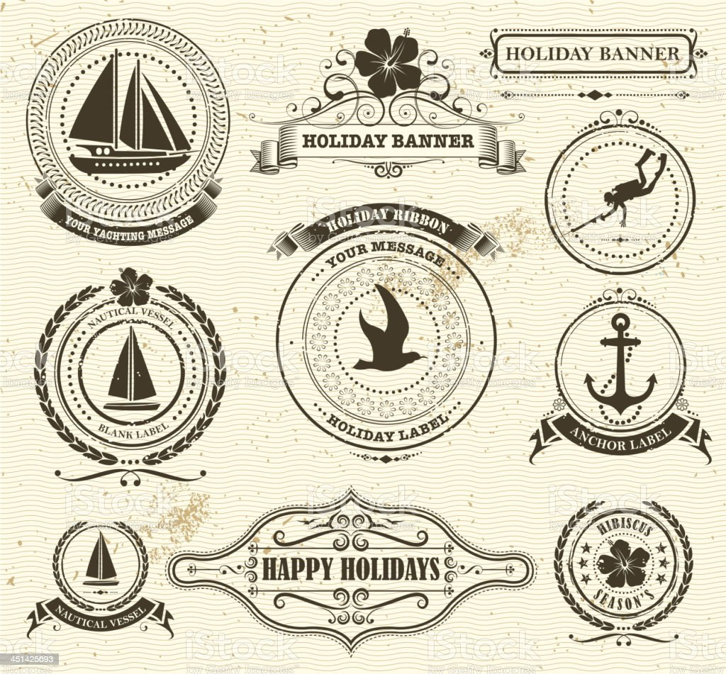 A set of holiday labels with a nautical theme on beige royalty-free stock vector art