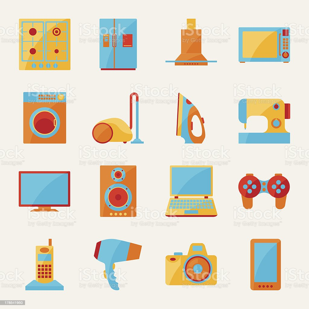 Set of home appliances and electronics icons. royalty-free stock vector art