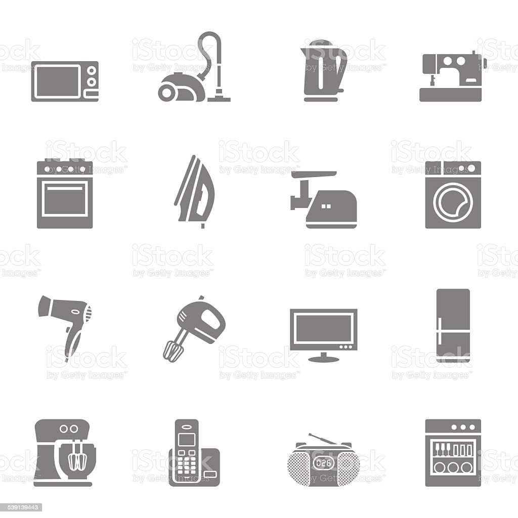 Set of home appliances and electronics icons vector art illustration