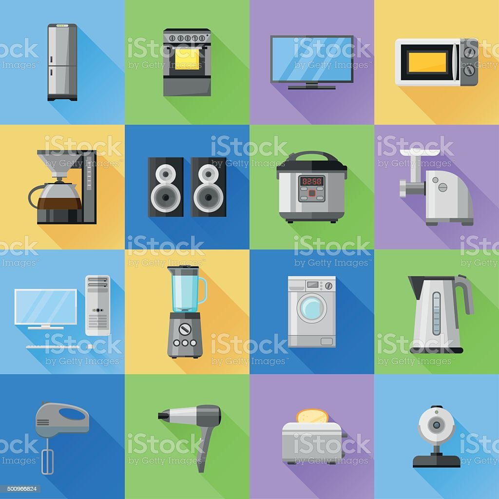 Set of home, household, kitchen appliances icons. Flat style. vector art illustration