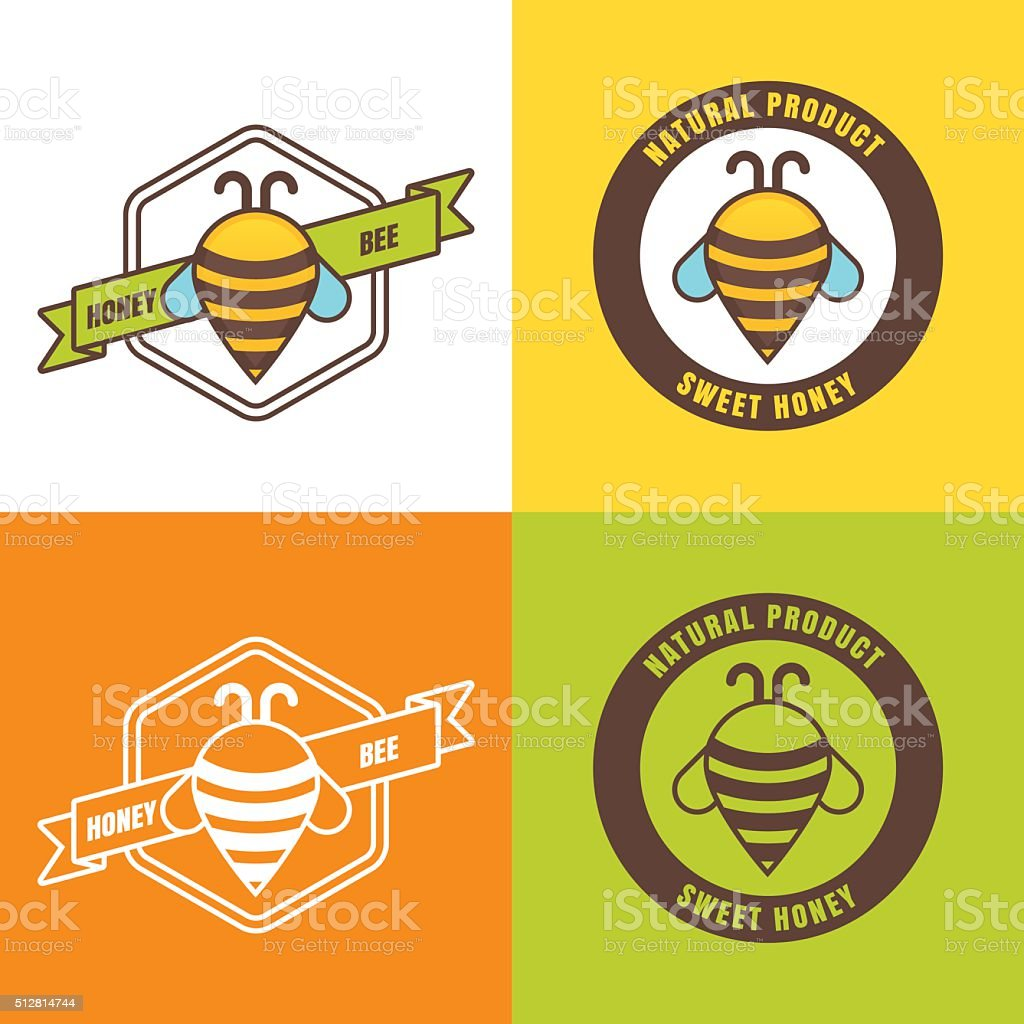Set of honey label, icon design elements. vector art illustration