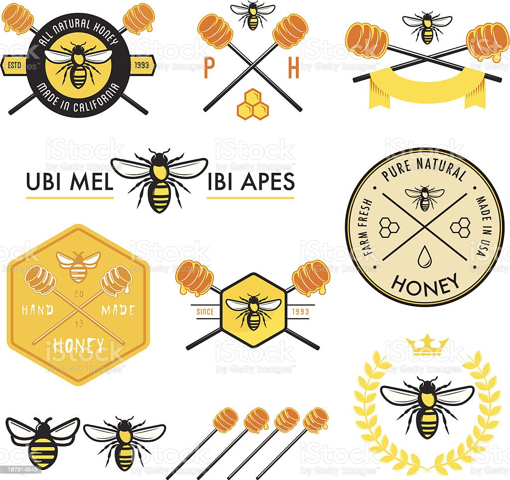 Set of honey labels, badges and design elements vector art illustration
