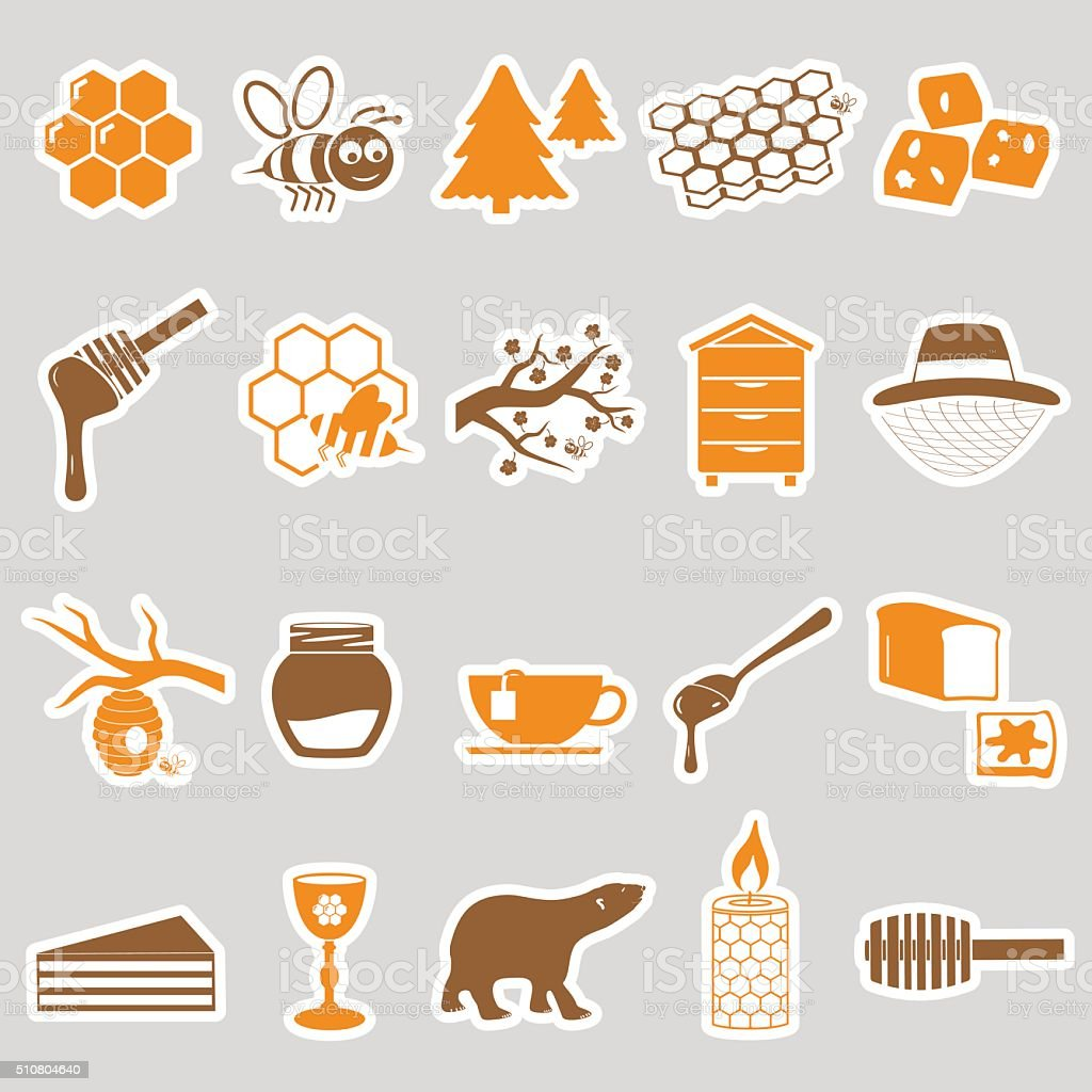 set of honey theme stickers icons eps10 vector art illustration