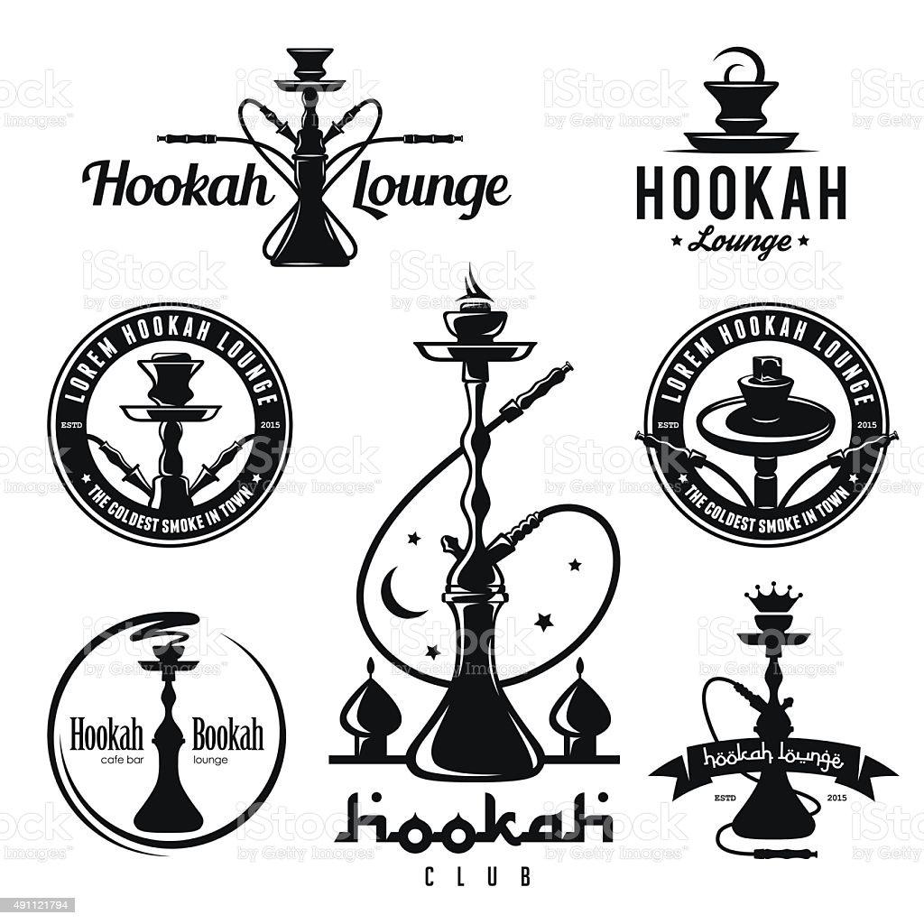Set of hookah labels, badges and design elements. vector art illustration