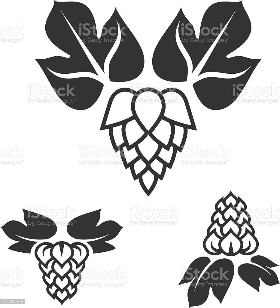 Set of hop icons vector art illustration
