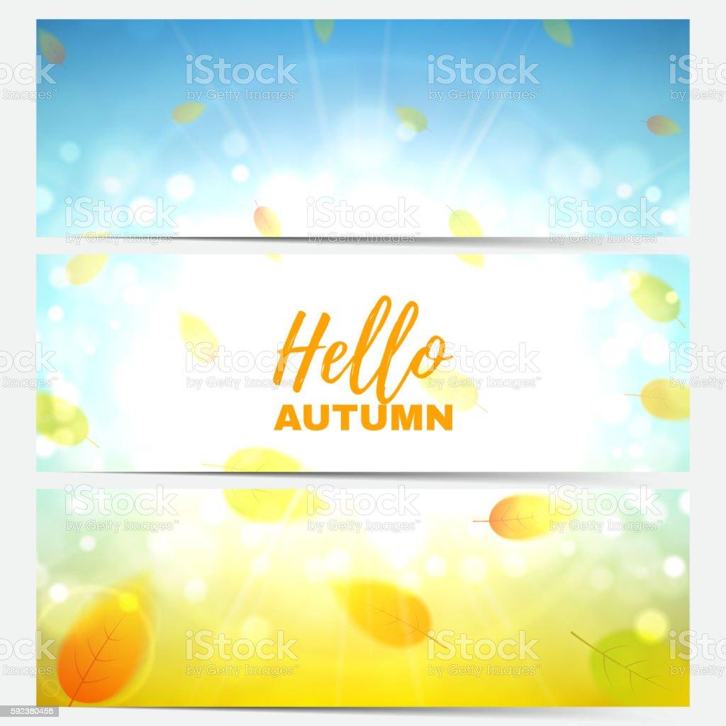 Set of horizontal autumn banners royalty-free stock vector art