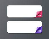 Set of horizontal banner template with curl corners