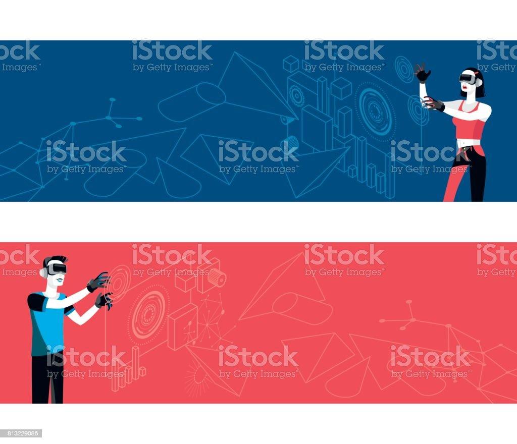 Set of Horizontal Banner Virtual Reality vector art illustration