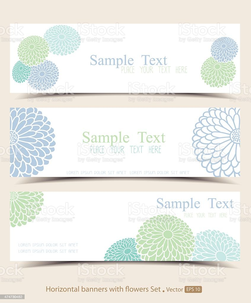 Set of horizontal banners with flowers vector art illustration