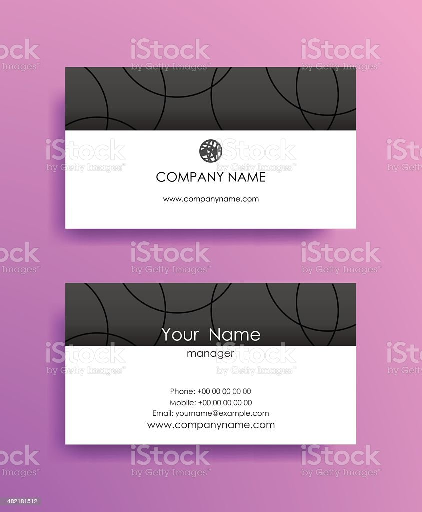 Set of horizontal elegant abstract business cards on violet background. vector art illustration