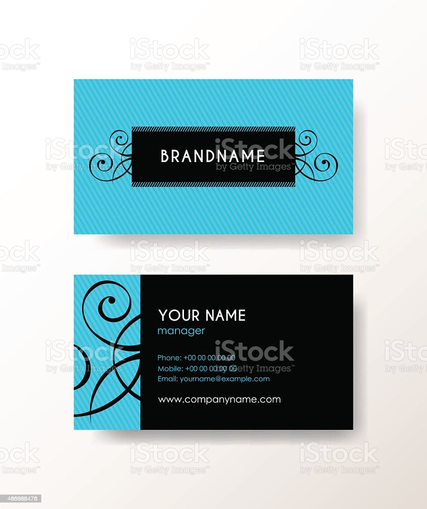 Set of horizontal elegant abstract business cards with hipster label. vector art illustration