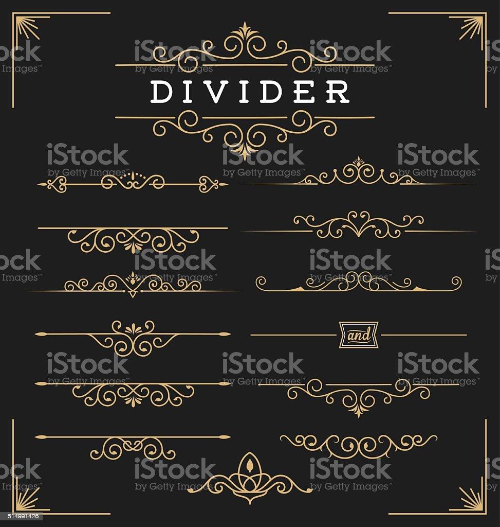 Set of horizontal flourishes divider vector art illustration