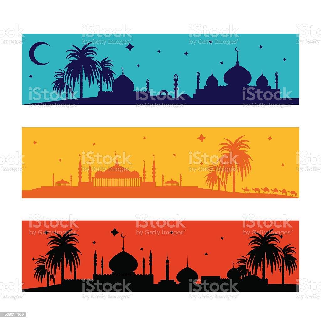 Set of horizontal islamic ramadan banners vector art illustration