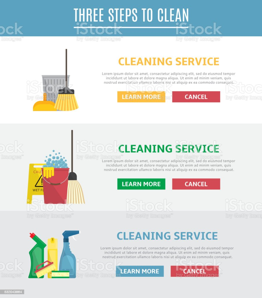Set of horizontal web banners for cleaning service royalty-free stock vector art