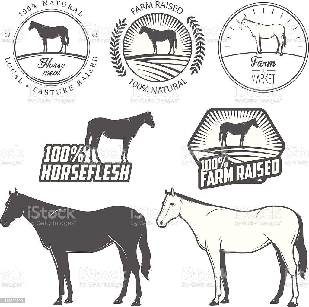 Set of horse meat labels and badges royalty-free stock vector art