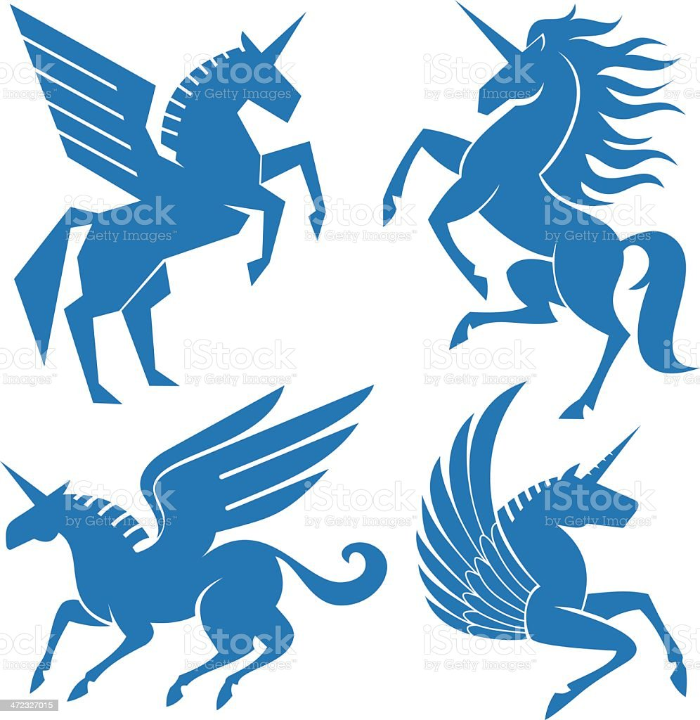 Set of horses vector art illustration