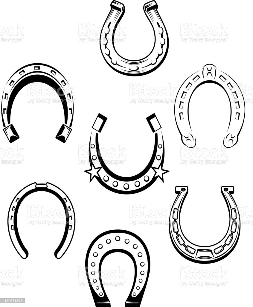 Set of horseshoe icons vector art illustration