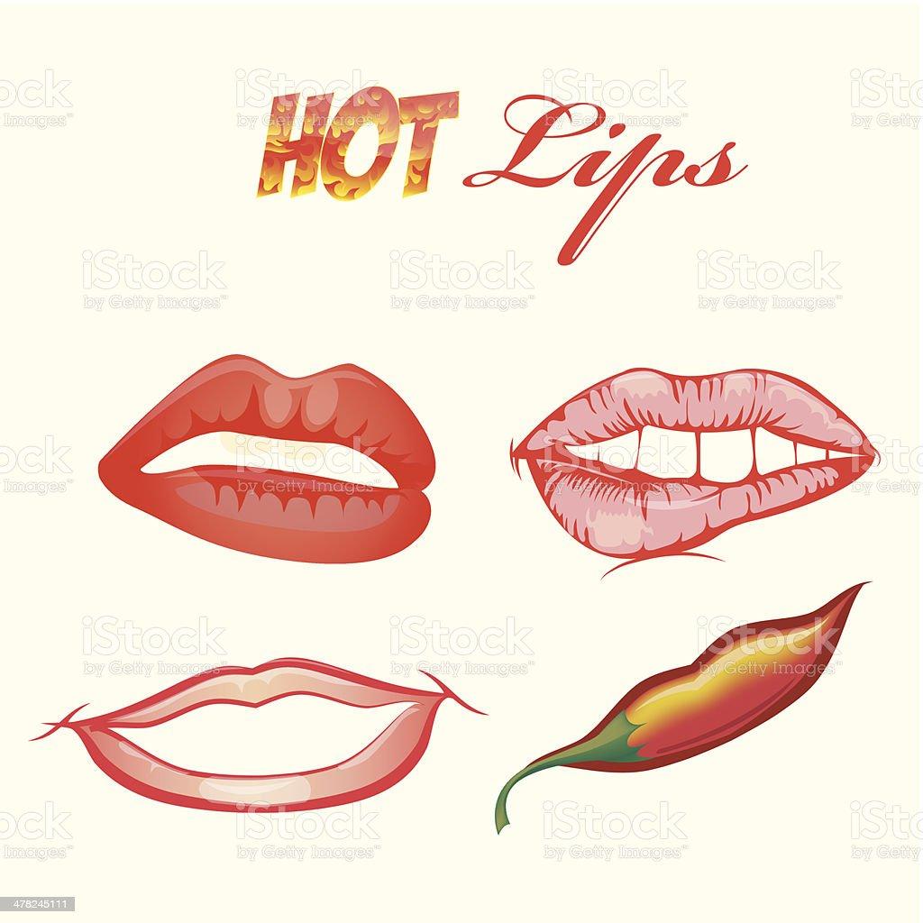 set of hot lips vector art illustration