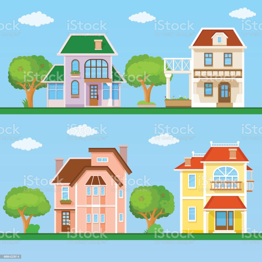 Set of house flat icons vector art illustration