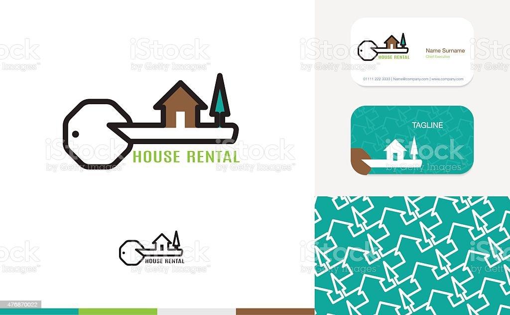 Ensemble De House Logo Carte Visite Et Motif Stock Vecteur Libres Droits