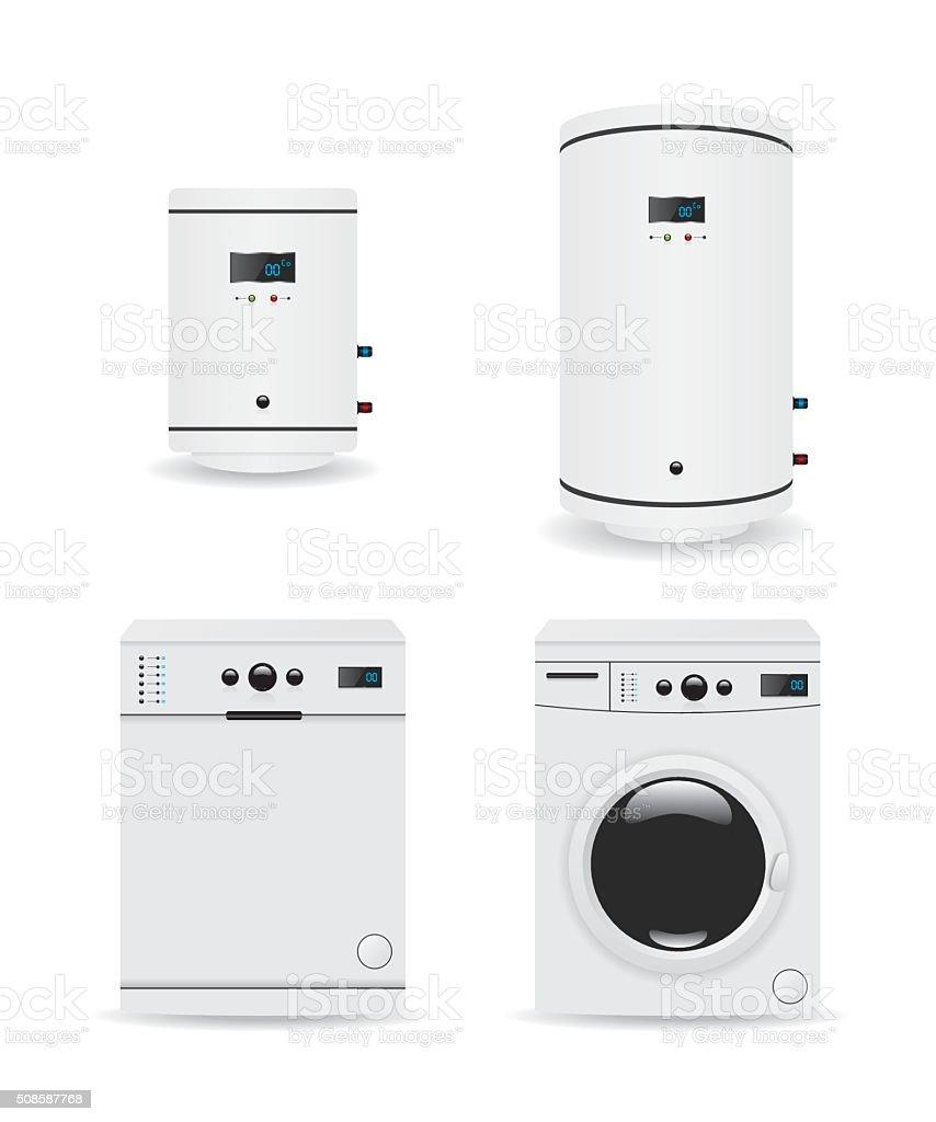 Set of household appliances  boiler and washing machine vector art illustration