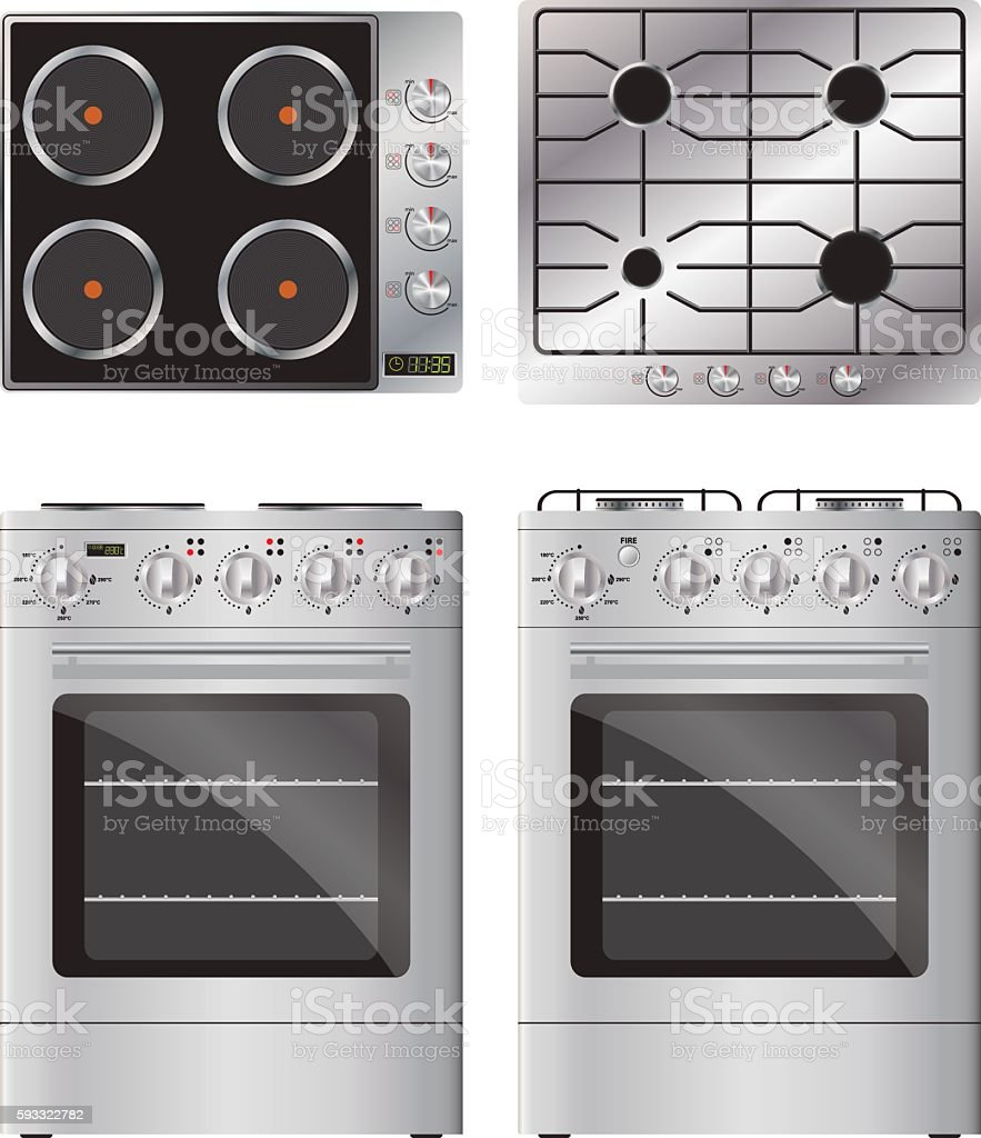 Set of household appliances. Gas and electric cooktop and stove. vector art illustration