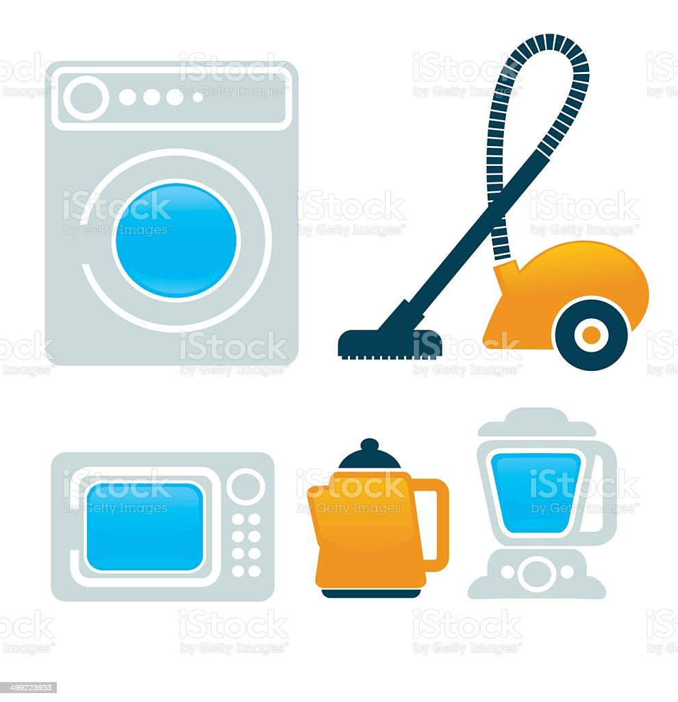 Set of household appliances icons vector art illustration