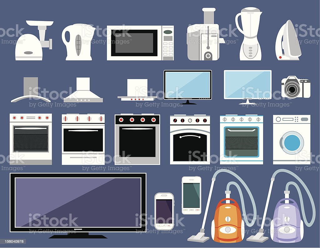 Set of household appliances royalty-free stock vector art