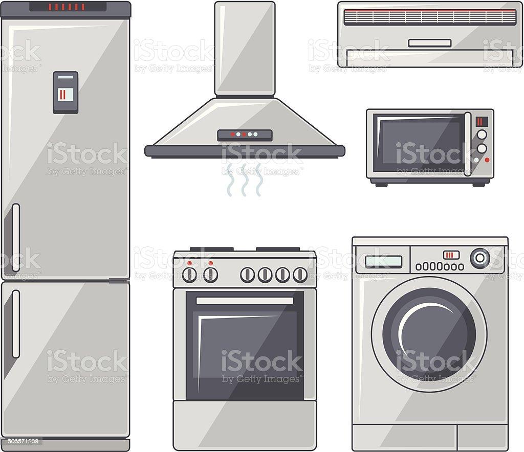 Set of household appliances vector art illustration