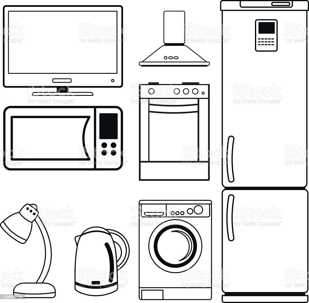 Set of household appliances. vector art illustration