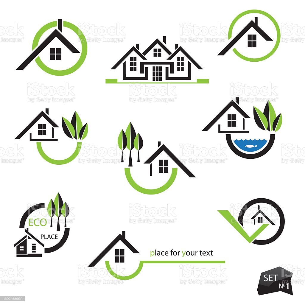 Set of houses icons for real estate business vector art illustration