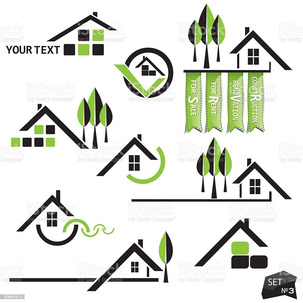 Set of houses icons with natural elements vector art illustration