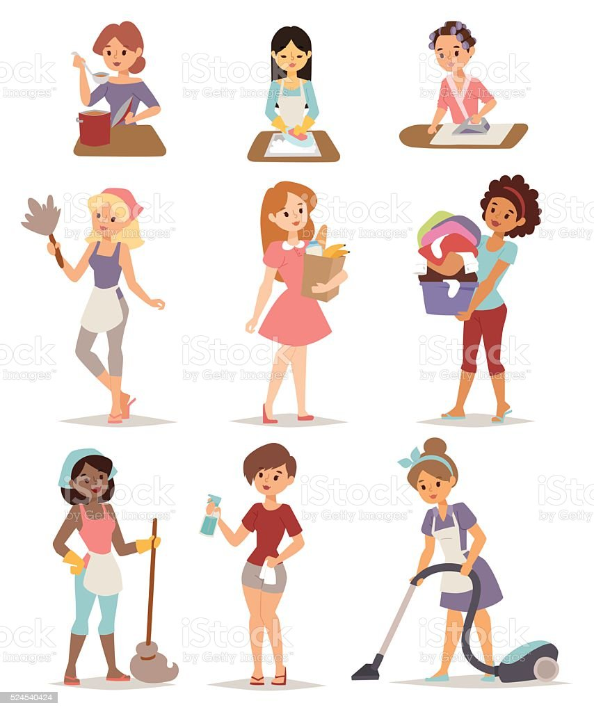 Set of housewife icon homemaker cleaning ironing cook wash and vector art illustration