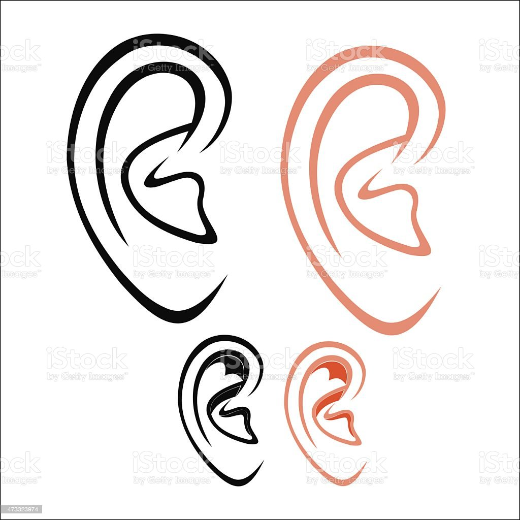 Set of human ear outlines in black and pink vector art illustration