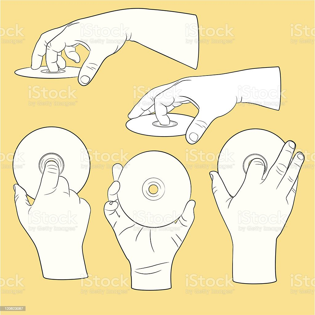 Set of human hands with CDs vector art illustration