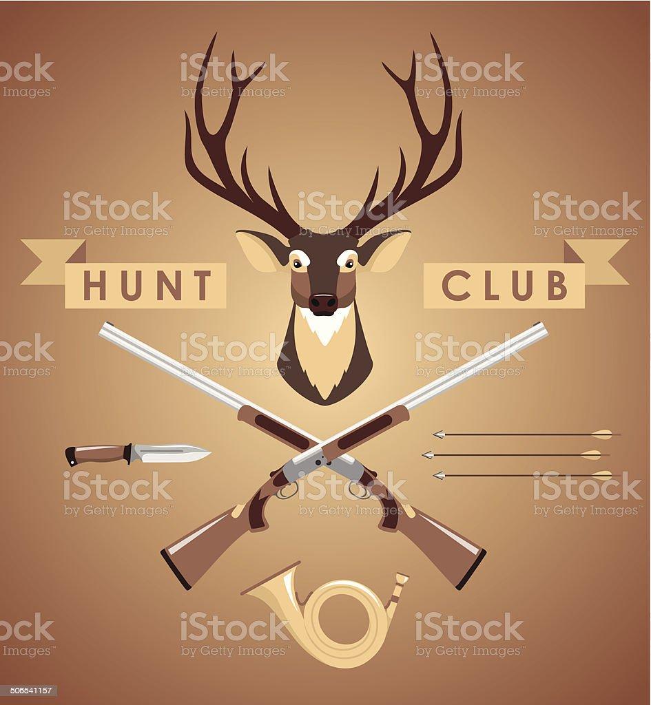 Set of hunting design elements vector art illustration
