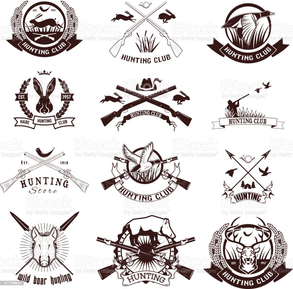 Set of hunting labels, emblems and design elements. vector art illustration
