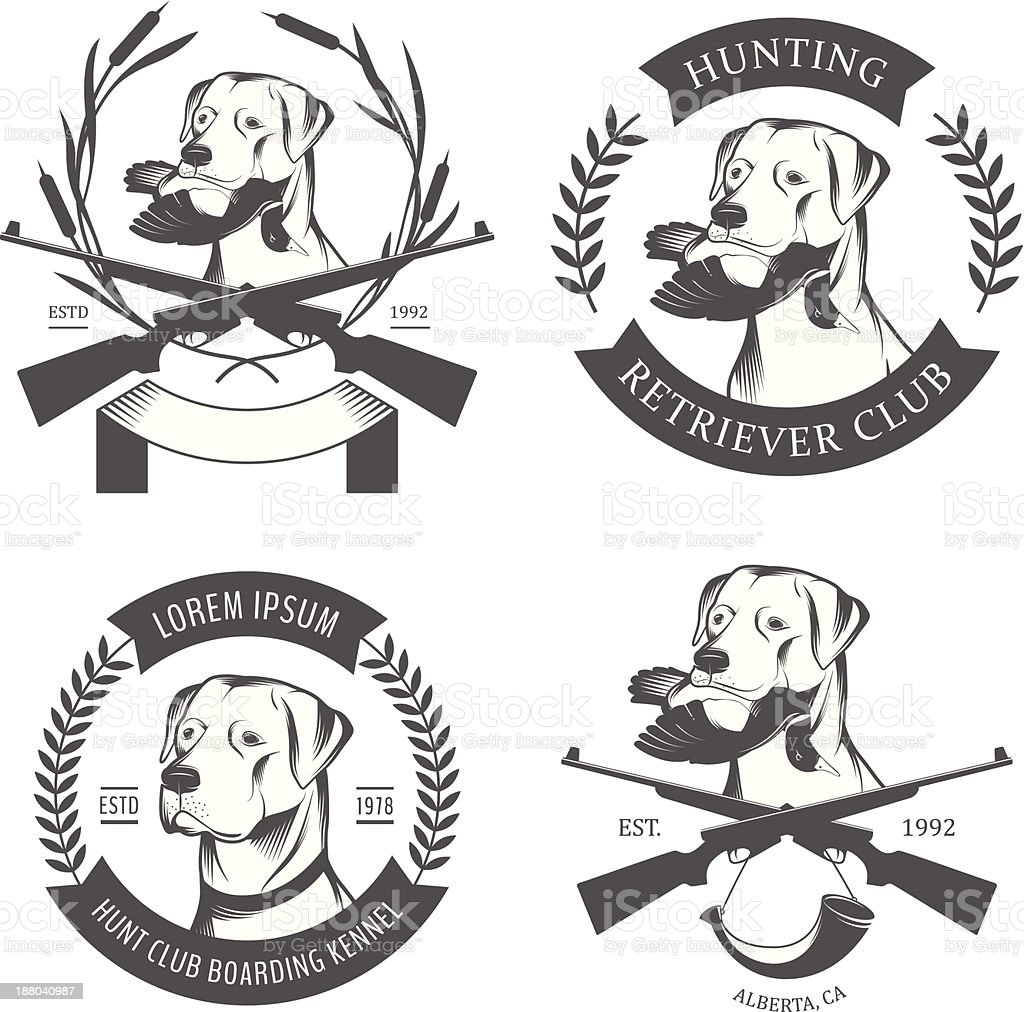 Set of hunting retriever labels and badges vector art illustration