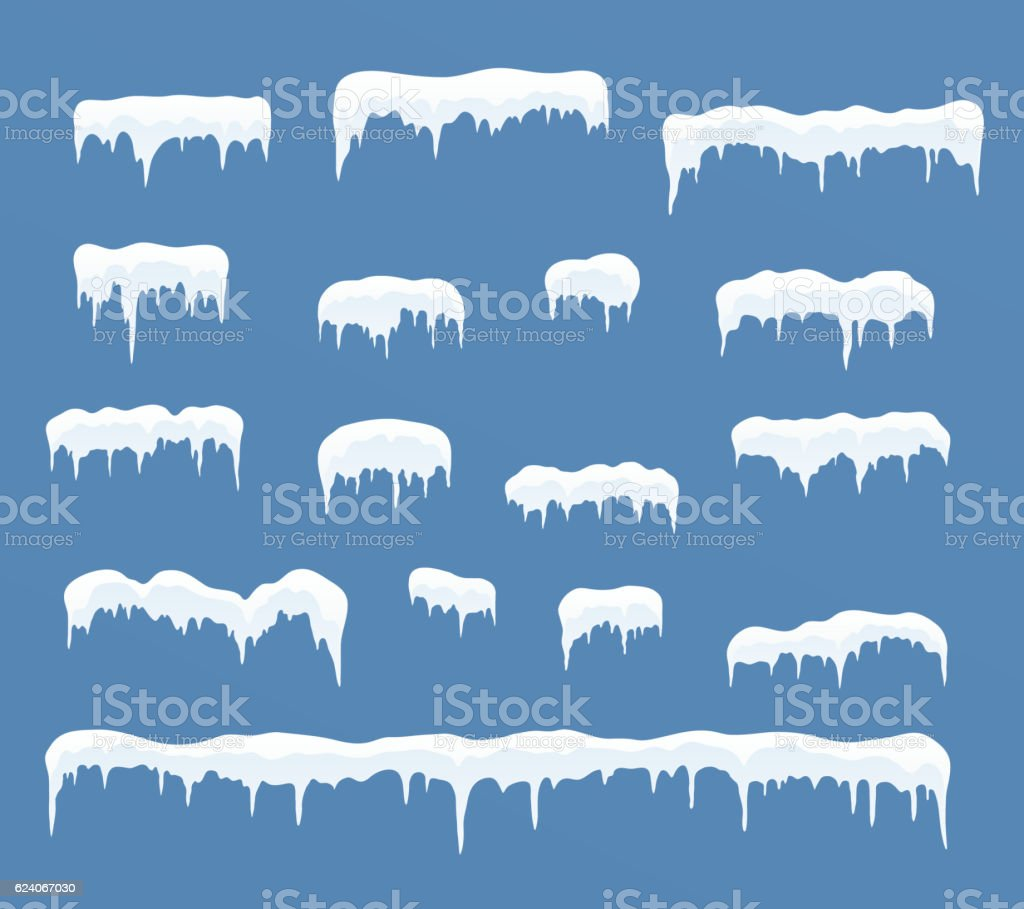 Set of ice caps. Snowdrifts, icicles. vector art illustration